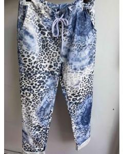 Lulu   Blue Animal Print Trousers